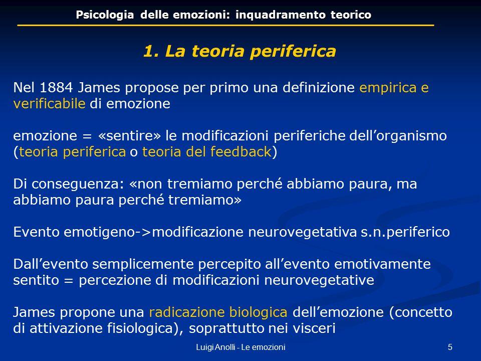 6Luigi Anolli - Le emozioni Psicologia delle emozioni: un inquadramento teorico A ogni emozione corrisponde una distinta e specifica configurazione di attivazioni neurofisiologiche La formulazione della teoria di James fu testata sperimentalmente da Sherrington e da Cannon e fu ritenuta infondata perché: cani con midollo spinale e nervo vago reciso: hanno reazioni emotive i visceri hanno: una sensibilità troppo scarsa, una risposta troppo lenta e una motilità troppo indifferenziata Tuttavia il punto di vista periferico è rimasto attivo con teorie più recenti e più elaborate