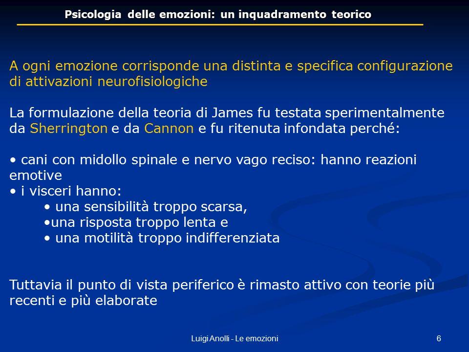 6Luigi Anolli - Le emozioni Psicologia delle emozioni: un inquadramento teorico A ogni emozione corrisponde una distinta e specifica configurazione di