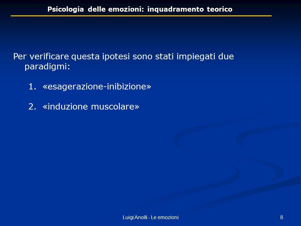 9Luigi Anolli - Le emozioni 1) 1)PARADIGMA ESAGERAZIONE-INIBIZIONE Soggetto deve modificare volontariamente le espressioni facciali delle emozioni ESAGERANDOLE o INIBIDENDOLE Exp.