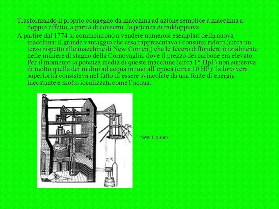 Trasformando il proprio congegno da macchina ad azione semplice a macchina a doppio effetto, a parità di consumi, la potenza di raddoppiava. A partire