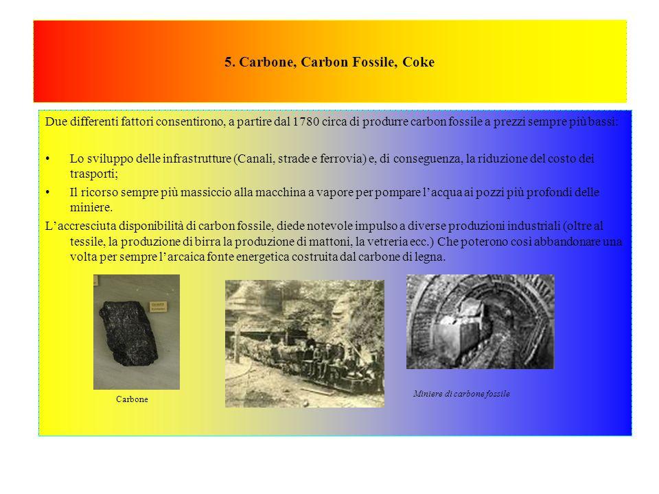 5. Carbone, Carbon Fossile, Coke Due differenti fattori consentirono, a partire dal 1780 circa di produrre carbon fossile a prezzi sempre più bassi: L