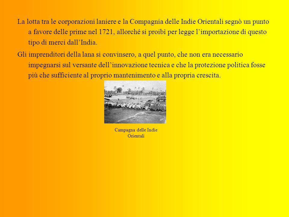 La lotta tra le corporazioni laniere e la Compagnia delle Indie Orientali segnò un punto a favore delle prime nel 1721, allorché si proibì per legge l