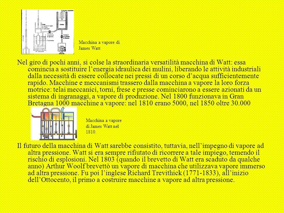 Nel giro di pochi anni, si colse la straordinaria versatilità macchina di Watt: essa comincia a sostituire l'energia idraulica dei mulini, liberando l