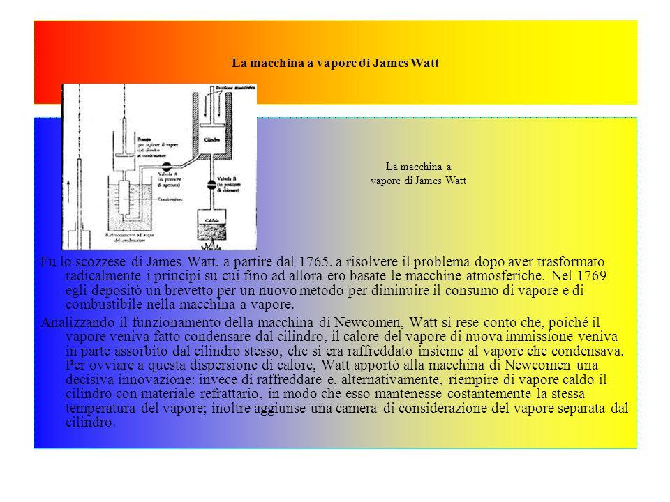 Queste modifiche fecero si che, a differenza della macchina di Newcomen, in quella di Watt fosse la pressione del vapore a compiere lavoro utile e non la pressione atmosferica.