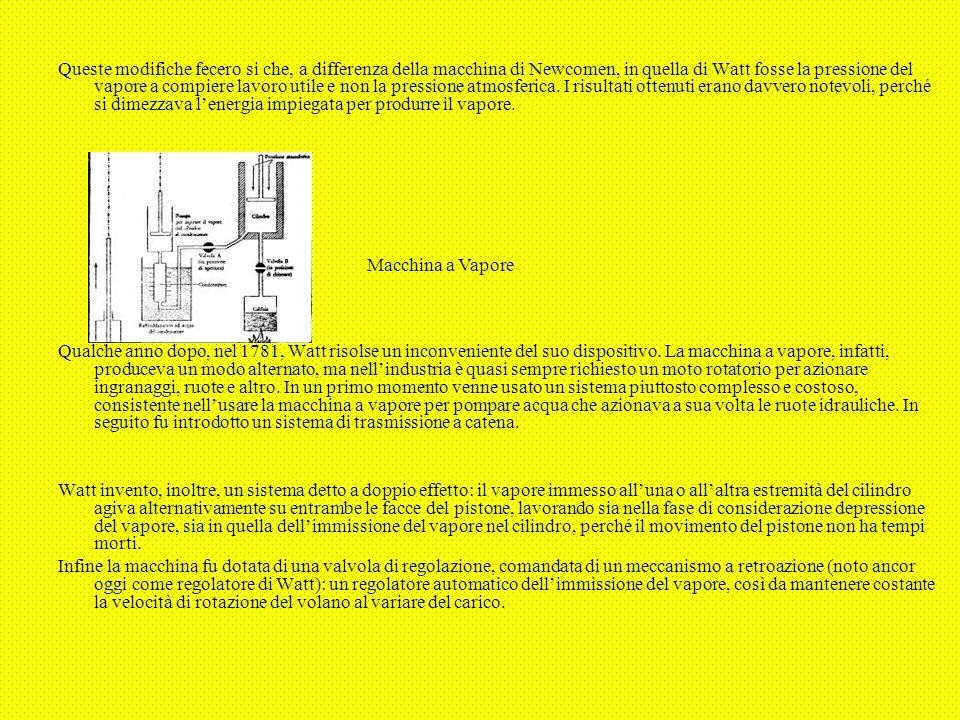 Queste modifiche fecero si che, a differenza della macchina di Newcomen, in quella di Watt fosse la pressione del vapore a compiere lavoro utile e non