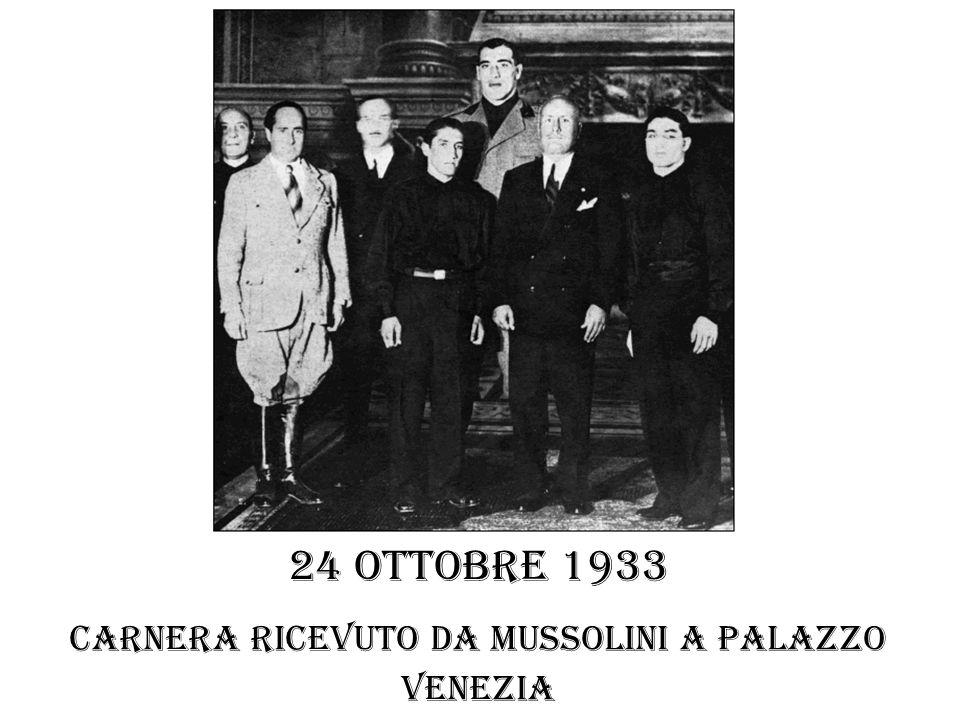 24 ottobre 1933 Carnera ricevuto da Mussolini a palazzo venezia
