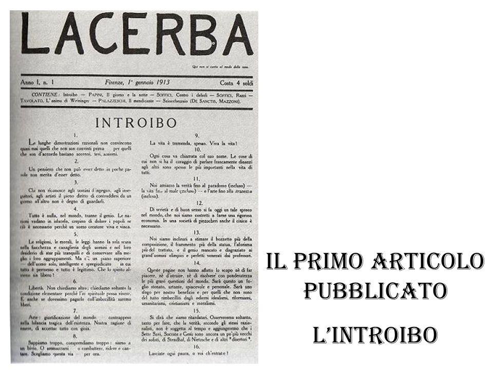 il primo articolo pubblicato L'introibo