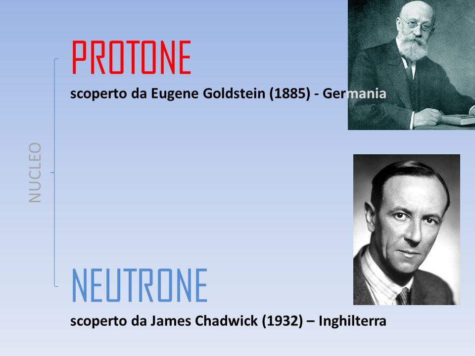 PROTONE scoperto da Eugene Goldstein (1885) - Germania NEUTRONE scoperto da James Chadwick (1932) – Inghilterra NUCLEO
