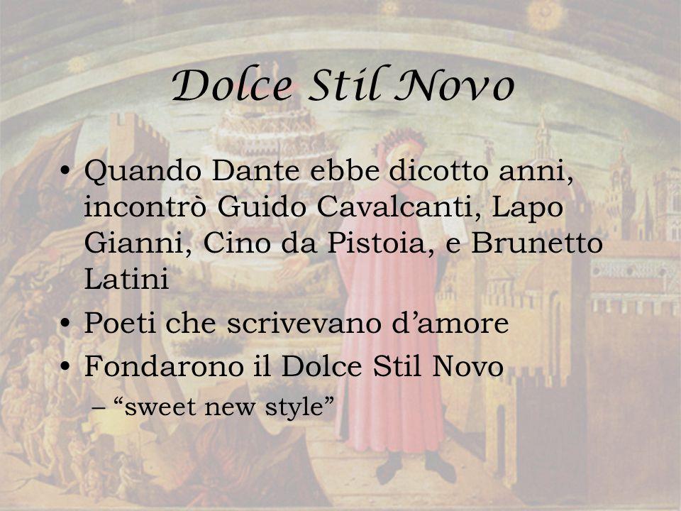 Beatrice Quando aveva nove anni, lui incontra Beatrice Portinari Dante si innamora al prima vista A vedere Beatrice in giro a Firenza e l'ammiro' da lontano Era una influenza nei suoi scritti