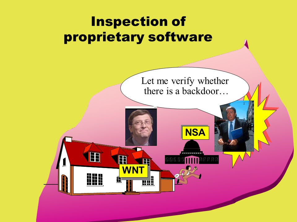 Inspection of proprietary software Let me verify whether there is a backdoor… WNT NSA