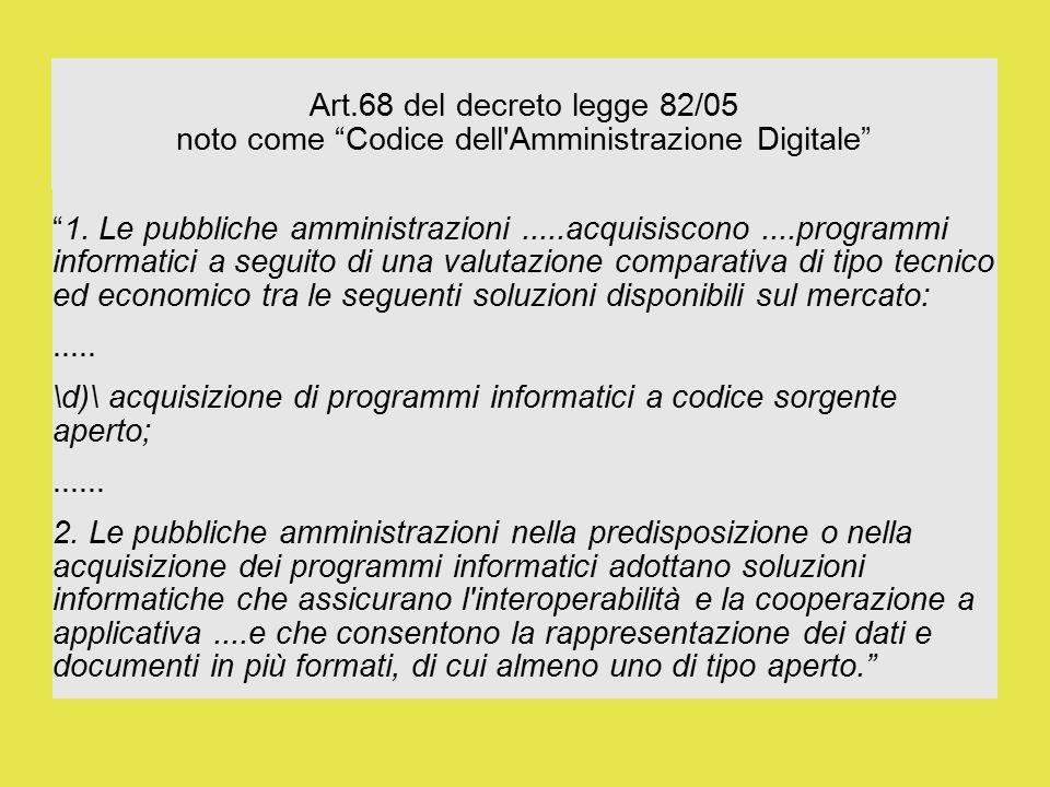 Art.68 del decreto legge 82/05 noto come Codice dell Amministrazione Digitale 1.