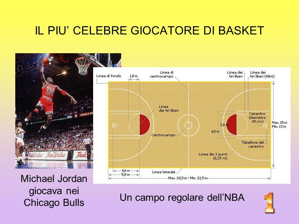 IL PIU' CELEBRE GIOCATORE DI BASKET Michael Jordan giocava nei Chicago Bulls Un campo regolare dell'NBA