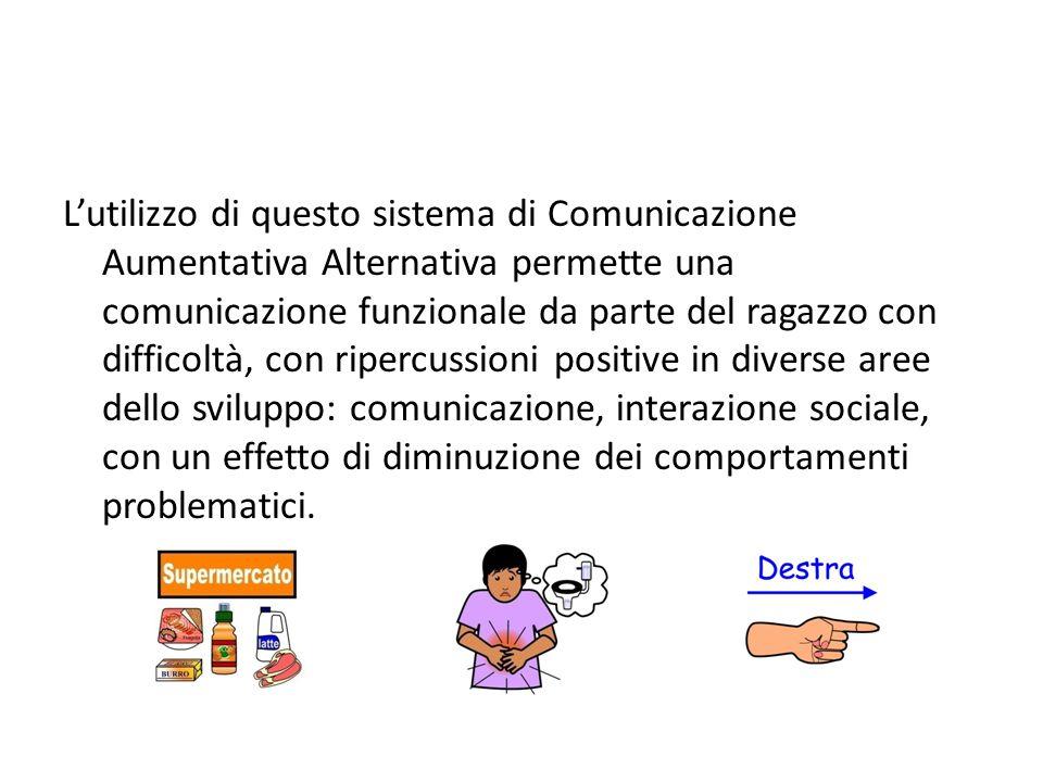L'utilizzo di questo sistema di Comunicazione Aumentativa Alternativa permette una comunicazione funzionale da parte del ragazzo con difficoltà, con ripercussioni positive in diverse aree dello sviluppo: comunicazione, interazione sociale, con un effetto di diminuzione dei comportamenti problematici.