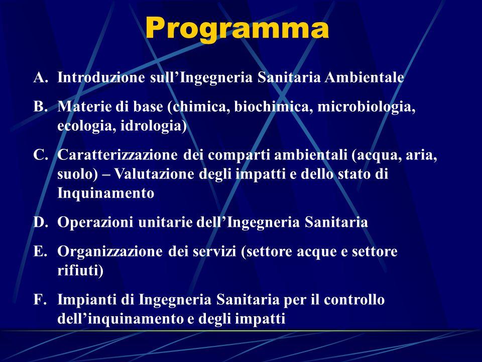 Programma A.Introduzione sull'Ingegneria Sanitaria Ambientale B.Materie di base (chimica, biochimica, microbiologia, ecologia, idrologia) C.Caratteriz