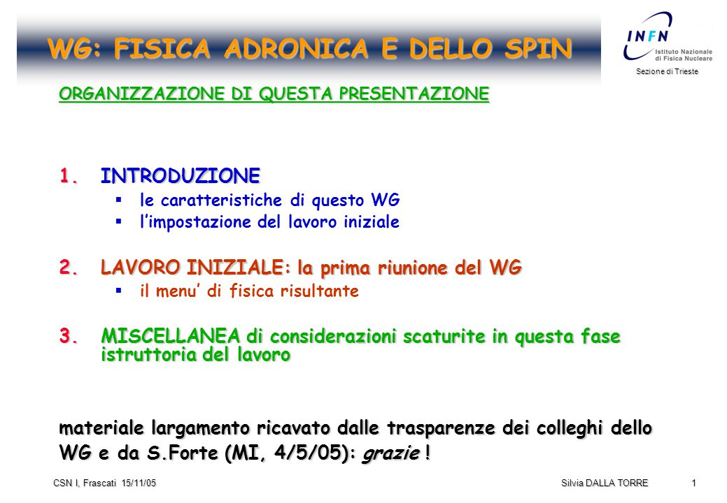 32 Sezione di Trieste Silvia DALLA TORRE CSN I, Frascati 15/11/05 Charmonium Physics Outlook  All 8 states below D Dbar threshold have been observed, with open problems:  The study of the h c (1P1 singlet resonance) remains a very high priority in charmonium physics: contradictory evidence  The agreement between the various measurements of the  c mass and width is not satisfactory.