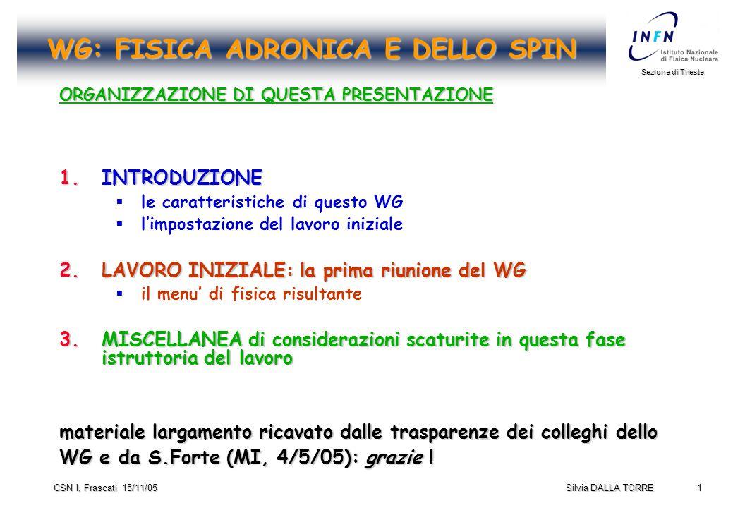 1 Sezione di Trieste Silvia DALLA TORRE CSN I, Frascati 15/11/05 WG: FISICA ADRONICA E DELLO SPIN ORGANIZZAZIONE DI QUESTA PRESENTAZIONE 1.INTRODUZIONE   le caratteristiche di questo WG   l'impostazione del lavoro iniziale 2.LAVORO INIZIALE: la prima riunione del WG   il menu' di fisica risultante 3.MISCELLANEA di considerazioni scaturite in questa fase istruttoria del lavoro materiale largamento ricavato dalle trasparenze dei colleghi dello WG e da S.Forte (MI, 4/5/05): grazie !