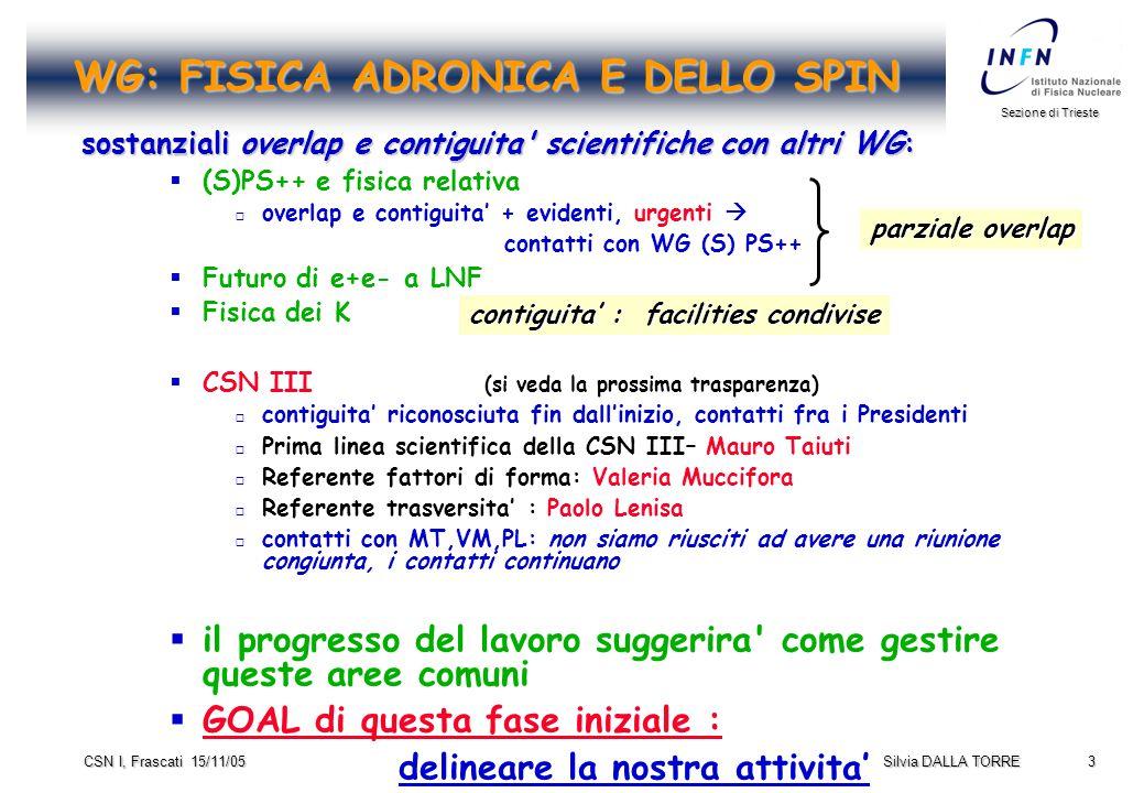 3 Sezione di Trieste Silvia DALLA TORRE CSN I, Frascati 15/11/05 WG: FISICA ADRONICA E DELLO SPIN sostanziali overlap e contiguita scientifiche con altri WG:   (S)PS++ e fisica relativa   overlap e contiguita' + evidenti, urgenti  contatti con WG (S) PS++   Futuro di e+e- a LNF   Fisica dei K   CSN III (si veda la prossima trasparenza)   contiguita' riconosciuta fin dall'inizio, contatti fra i Presidenti   Prima linea scientifica della CSN III– Mauro Taiuti   Referente fattori di forma: Valeria Muccifora   Referente trasversita' : Paolo Lenisa   contatti con MT,VM,PL: non siamo riusciti ad avere una riunione congiunta, i contatti continuano   il progresso del lavoro suggerira come gestire queste aree comuni   GOAL di questa fase iniziale : delineare la nostra attivita' parziale overlap contiguita' : facilities condivise