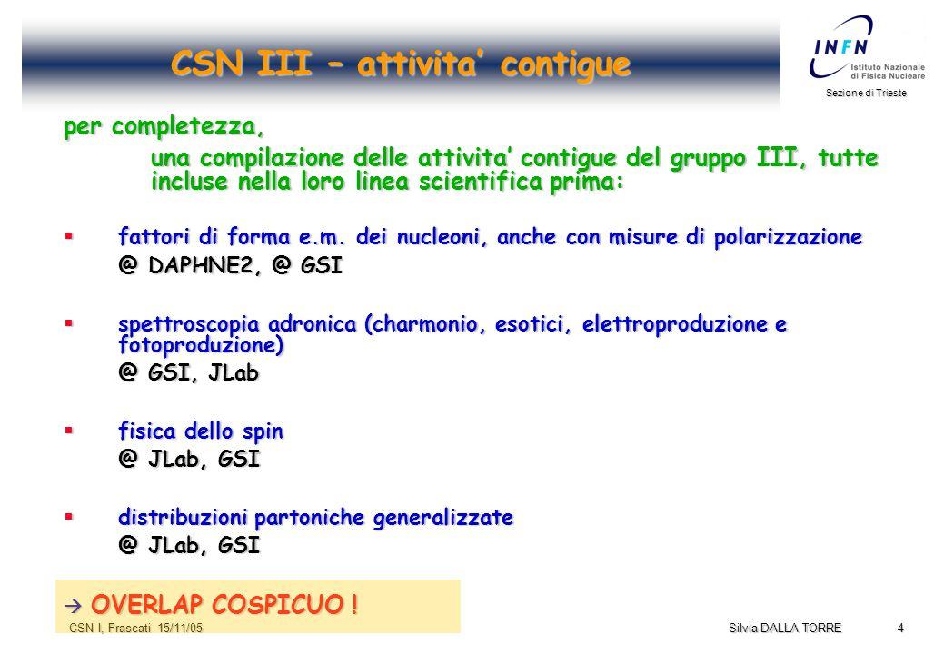 4 Sezione di Trieste Silvia DALLA TORRE CSN I, Frascati 15/11/05 CSN III – attivita' contigue per completezza, una compilazione delle attivita' contigue del gruppo III, tutte incluse nella loro linea scientifica prima:  fattori di forma e.m.