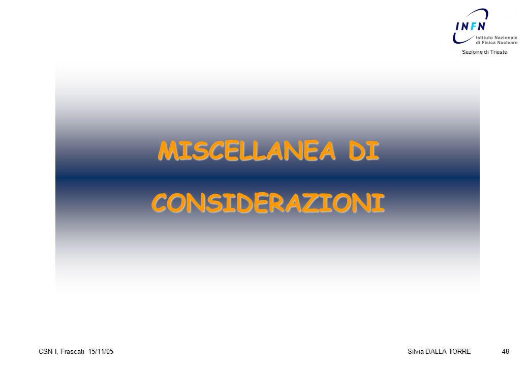 48 Sezione di Trieste Silvia DALLA TORRE CSN I, Frascati 15/11/05 MISCELLANEA DI CONSIDERAZIONI