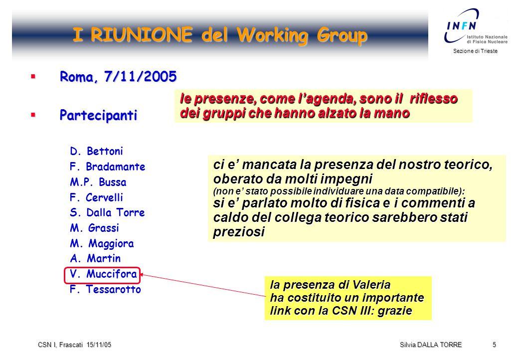5 Sezione di Trieste Silvia DALLA TORRE CSN I, Frascati 15/11/05 I RIUNIONE del Working Group  Roma, 7/11/2005  Partecipanti D.