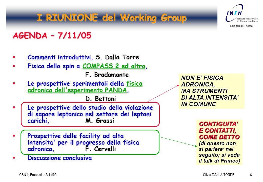 6 Sezione di Trieste Silvia DALLA TORRE CSN I, Frascati 15/11/05 I RIUNIONE del Working Group AGENDA – 7/11/05  Commenti introduttivi, S.