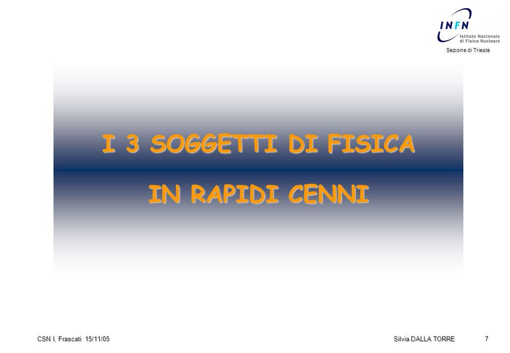 7 Sezione di Trieste Silvia DALLA TORRE CSN I, Frascati 15/11/05 I 3 SOGGETTI DI FISICA IN RAPIDI CENNI