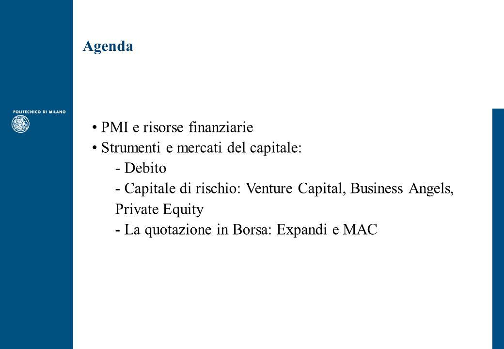 Agenda PMI e risorse finanziarie Strumenti e mercati del capitale: - Debito - Capitale di rischio: Venture Capital, Business Angels, Private Equity - La quotazione in Borsa: Expandi e MAC