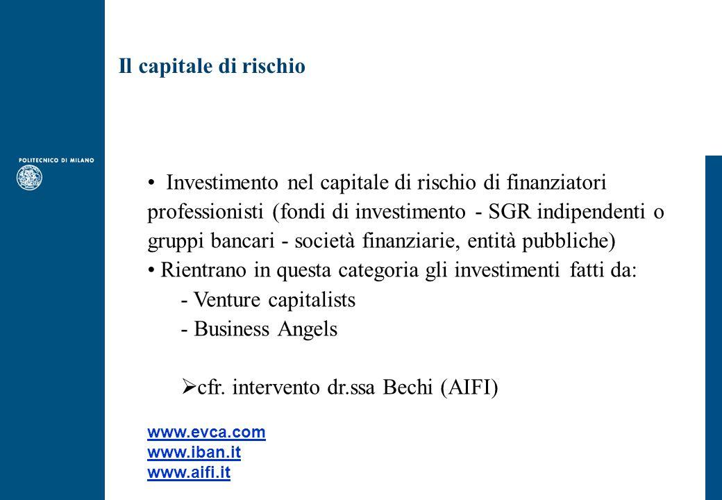 Il capitale di rischio Investimento nel capitale di rischio di finanziatori professionisti (fondi di investimento - SGR indipendenti o gruppi bancari - società finanziarie, entità pubbliche) Rientrano in questa categoria gli investimenti fatti da: - Venture capitalists - Business Angels  cfr.