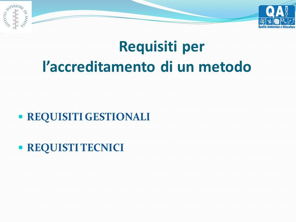 Requisiti per l'accreditamento di un metodo REQUISITI GESTIONALI REQUISTI TECNICI