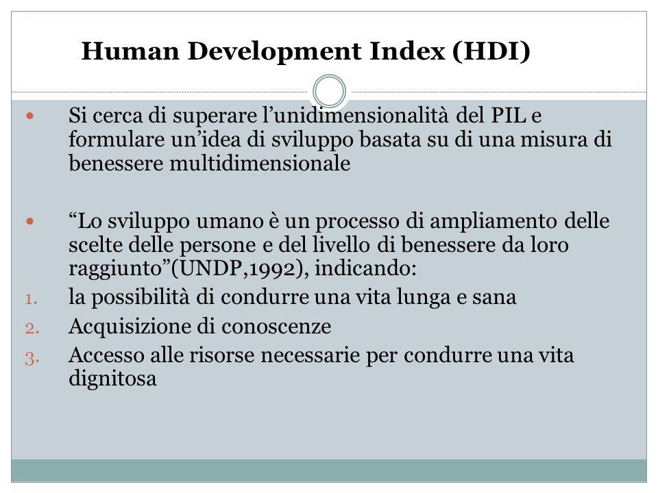 Human Development Index (HDI) Si cerca di superare l'unidimensionalità del PIL e formulare un'idea di sviluppo basata su di una misura di benessere mu