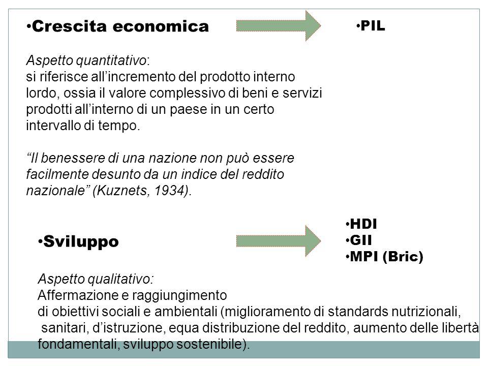 Crescita economica Aspetto quantitativo: si riferisce all'incremento del prodotto interno lordo, ossia il valore complessivo di beni e servizi prodott