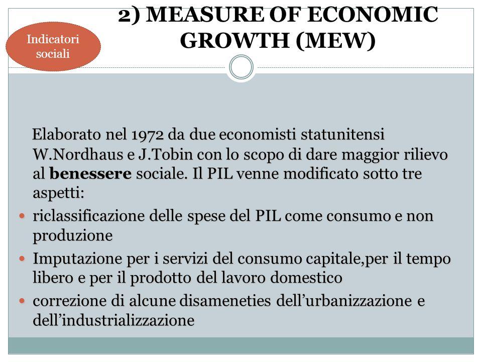 Elaborato nel 1972 da due economisti statunitensi W.Nordhaus e J.Tobin con lo scopo di dare maggior rilievo al benessere sociale. Il PIL venne modific