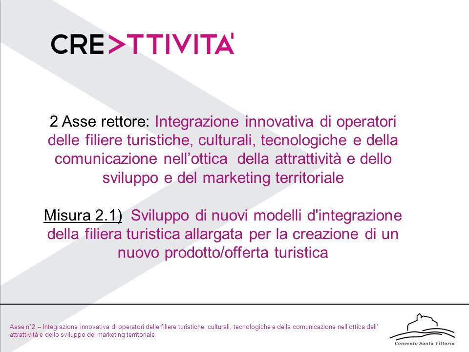 Asse n°2 – Integrazione innovativa di operatori delle filiere turistiche, culturali, tecnologiche e della comunicazione nell'ottica dell' attrattività