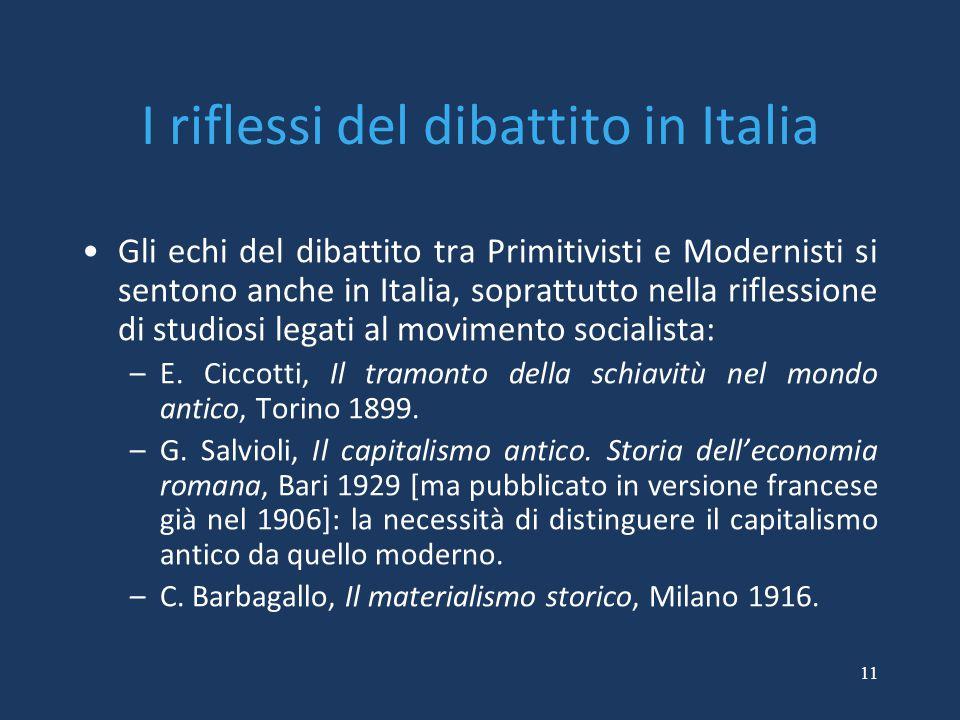 I riflessi del dibattito in Italia Gli echi del dibattito tra Primitivisti e Modernisti si sentono anche in Italia, soprattutto nella riflessione di s