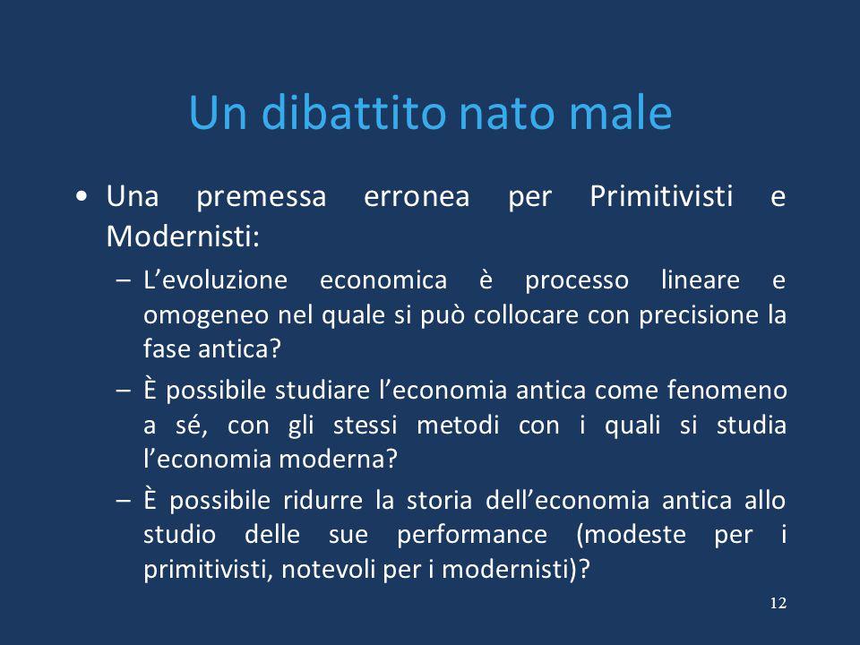 12 Un dibattito nato male Una premessa erronea per Primitivisti e Modernisti: –L'evoluzione economica è processo lineare e omogeneo nel quale si può c