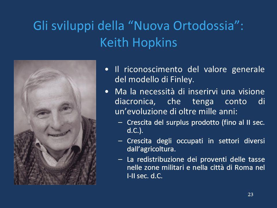"""23 Gli sviluppi della """"Nuova Ortodossia"""": Keith Hopkins Il riconoscimento del valore generale del modello di Finley. Ma la necessità di inserirvi una"""