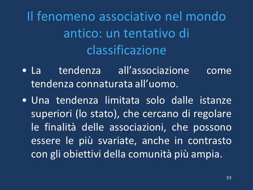 33 Il fenomeno associativo nel mondo antico: un tentativo di classificazione La tendenza all'associazione come tendenza connaturata all'uomo. Una tend