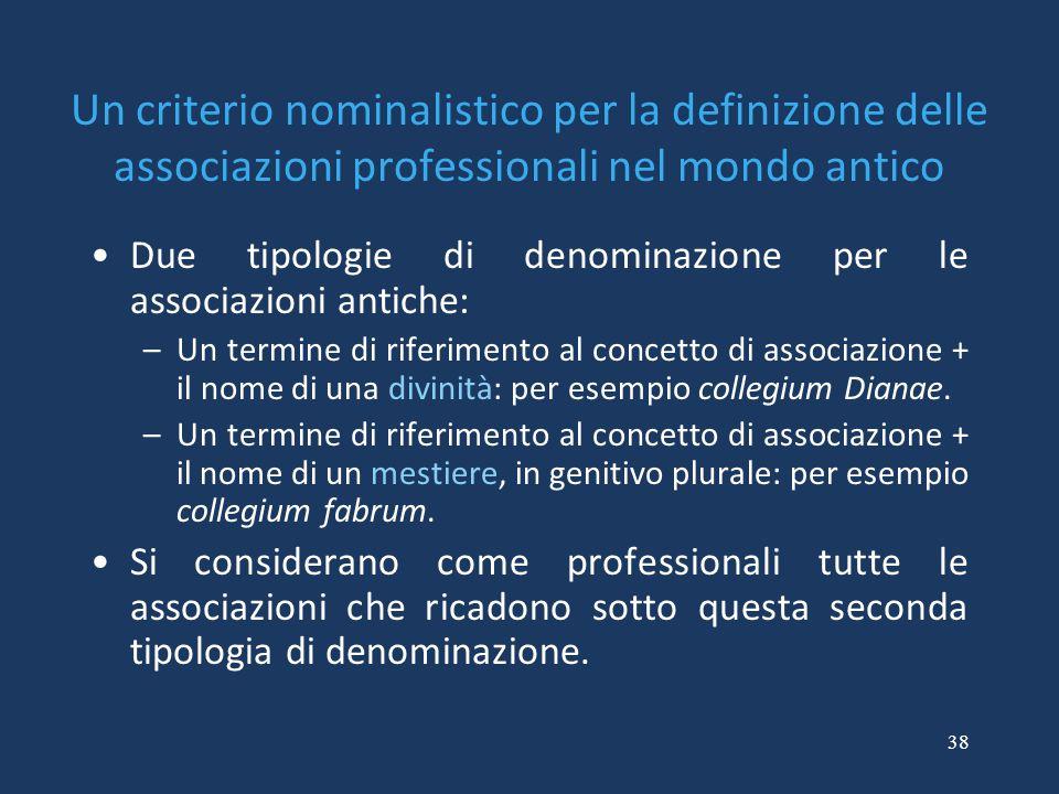 38 Un criterio nominalistico per la definizione delle associazioni professionali nel mondo antico Due tipologie di denominazione per le associazioni a
