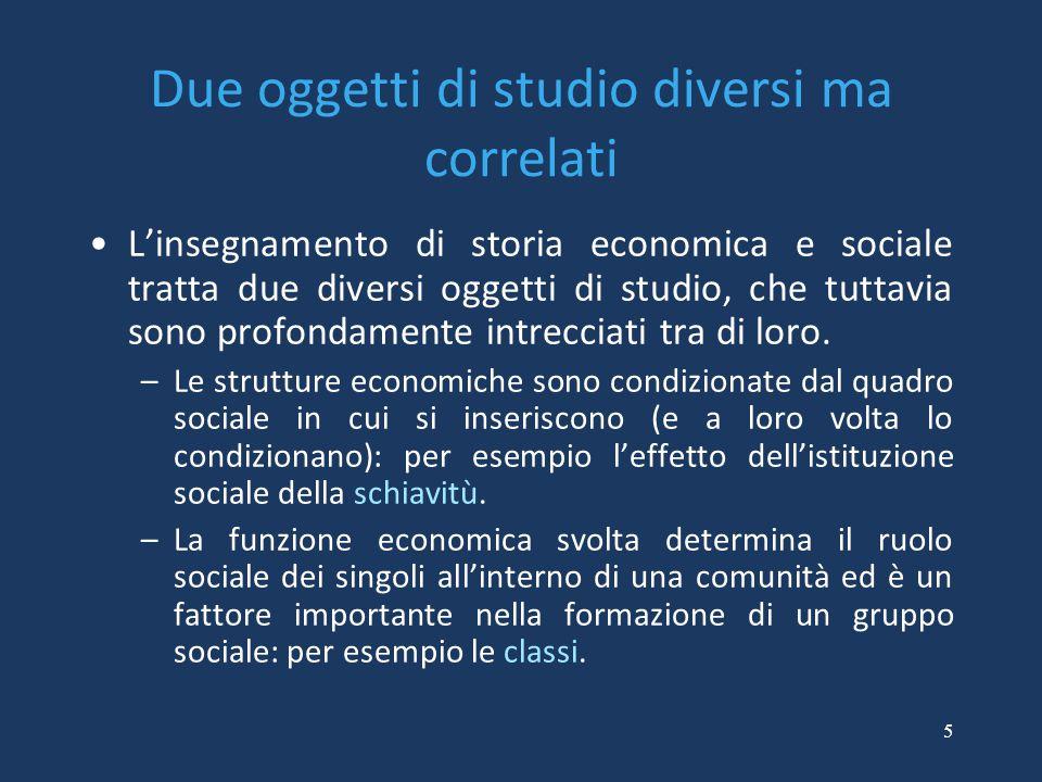 5 Due oggetti di studio diversi ma correlati L'insegnamento di storia economica e sociale tratta due diversi oggetti di studio, che tuttavia sono prof