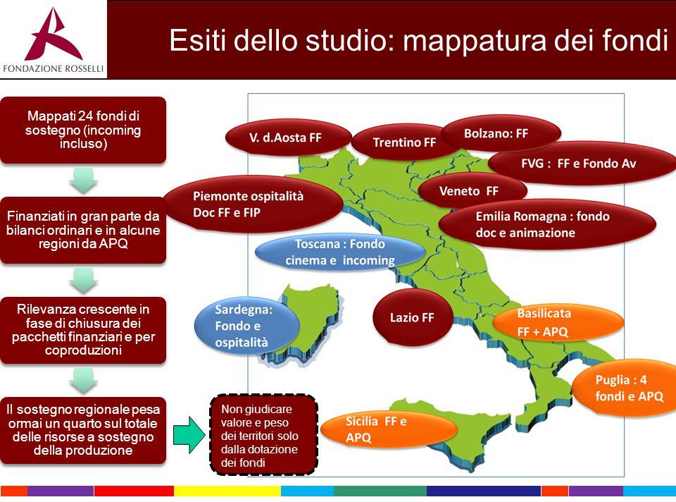 Esiti dello studio: mappatura dei fondi Mappati 24 fondi di sostegno (incoming incluso) Finanziati in gran parte da bilanci ordinari e in alcune regio