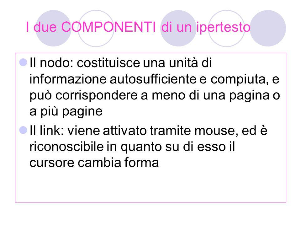 I due COMPONENTI di un ipertesto Il nodo: costituisce una unità di informazione autosufficiente e compiuta, e può corrispondere a meno di una pagina o a più pagine Il link: viene attivato tramite mouse, ed è riconoscibile in quanto su di esso il cursore cambia forma