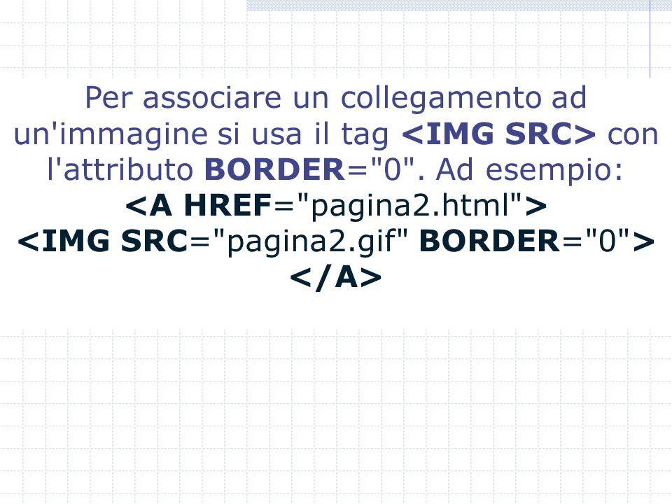 Per associare un collegamento ad un immagine si usa il tag con l attributo BORDER= 0 . Ad esempio: