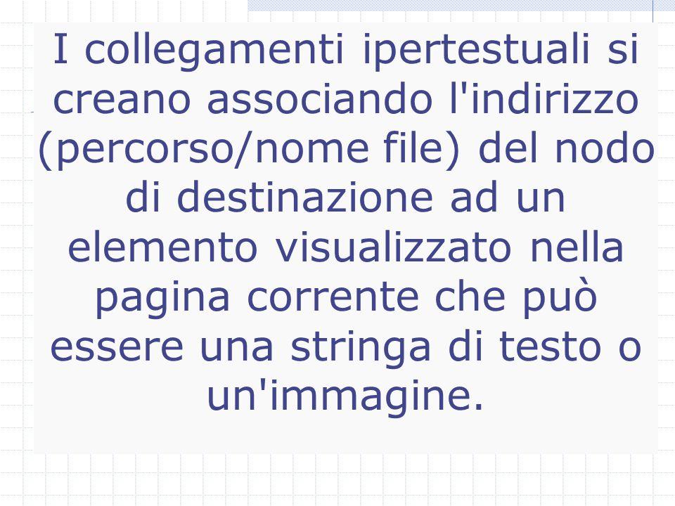I collegamenti ipertestuali si creano associando l indirizzo (percorso/nome file) del nodo di destinazione ad un elemento visualizzato nella pagina corrente che può essere una stringa di testo o un immagine.
