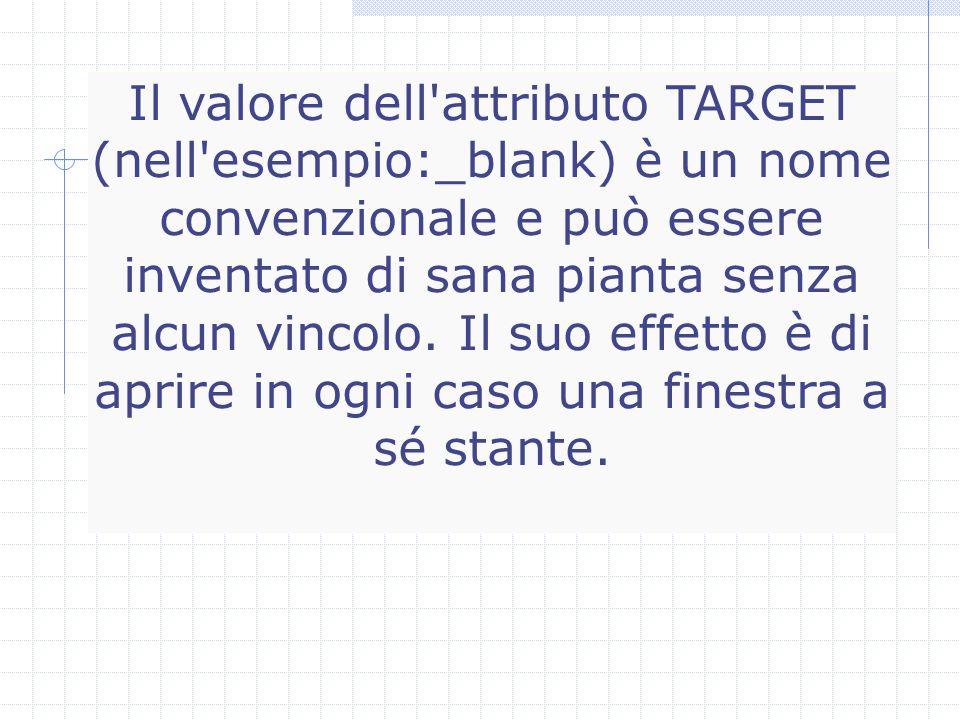 Il valore dell attributo TARGET (nell esempio:_blank) è un nome convenzionale e può essere inventato di sana pianta senza alcun vincolo.
