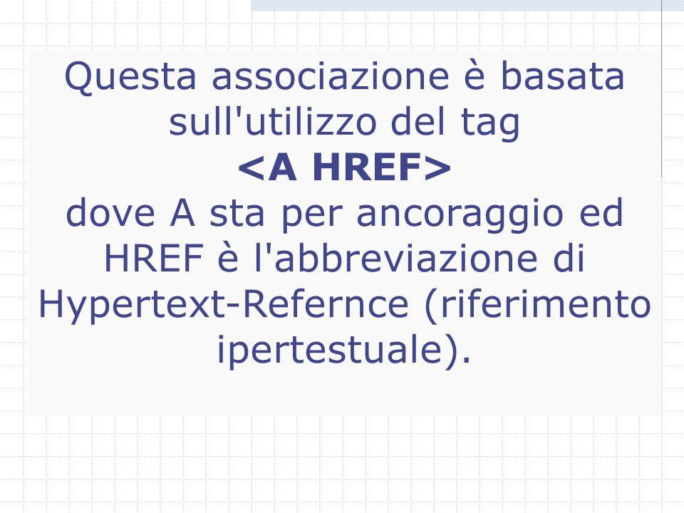 Questa associazione è basata sull utilizzo del tag dove A sta per ancoraggio ed HREF è l abbreviazione di Hypertext-Refernce (riferimento ipertestuale).