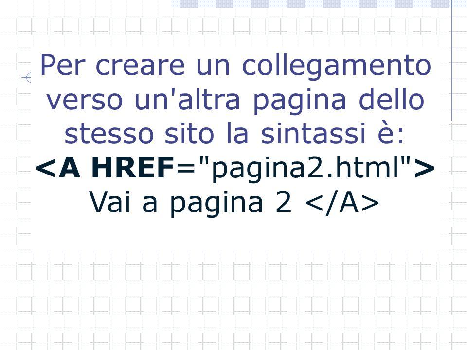 Per creare un collegamento verso un altra pagina dello stesso sito la sintassi è: Vai a pagina 2