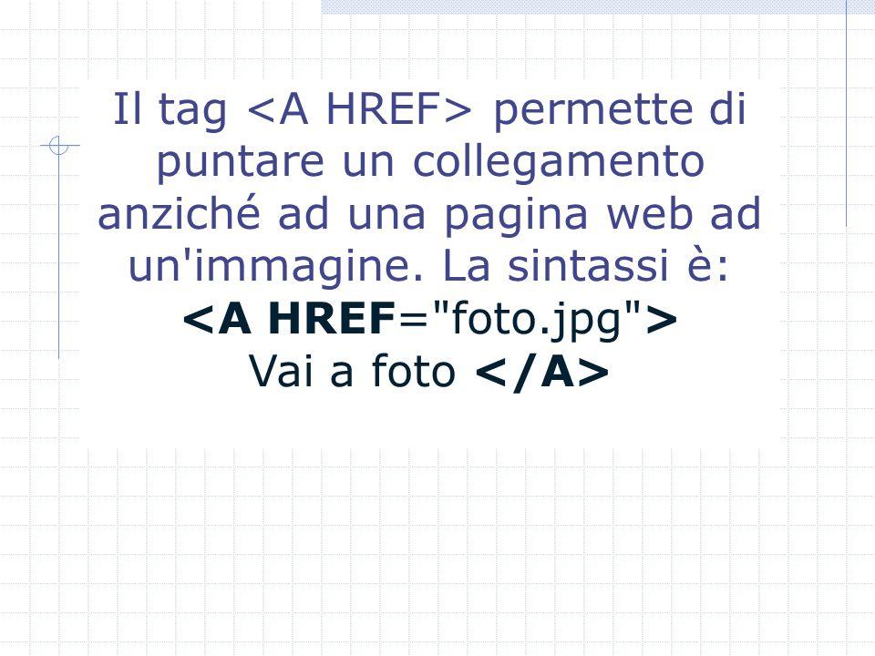 Il tag permette di puntare un collegamento anziché ad una pagina web ad un immagine.