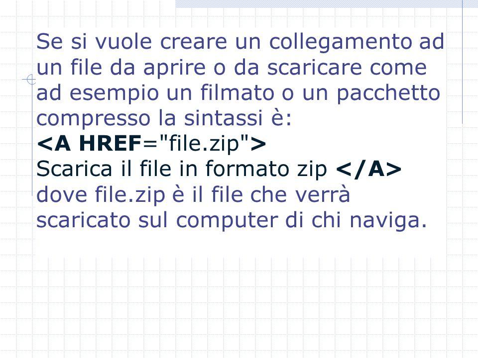 Se si vuole creare un collegamento ad un file da aprire o da scaricare come ad esempio un filmato o un pacchetto compresso la sintassi è: Scarica il file in formato zip dove file.zip è il file che verrà scaricato sul computer di chi naviga.