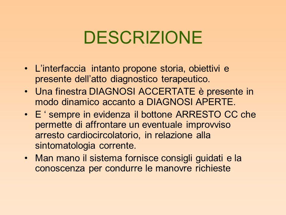 DESCRIZIONE L'interfaccia intanto propone storia, obiettivi e presente dell'atto diagnostico terapeutico.