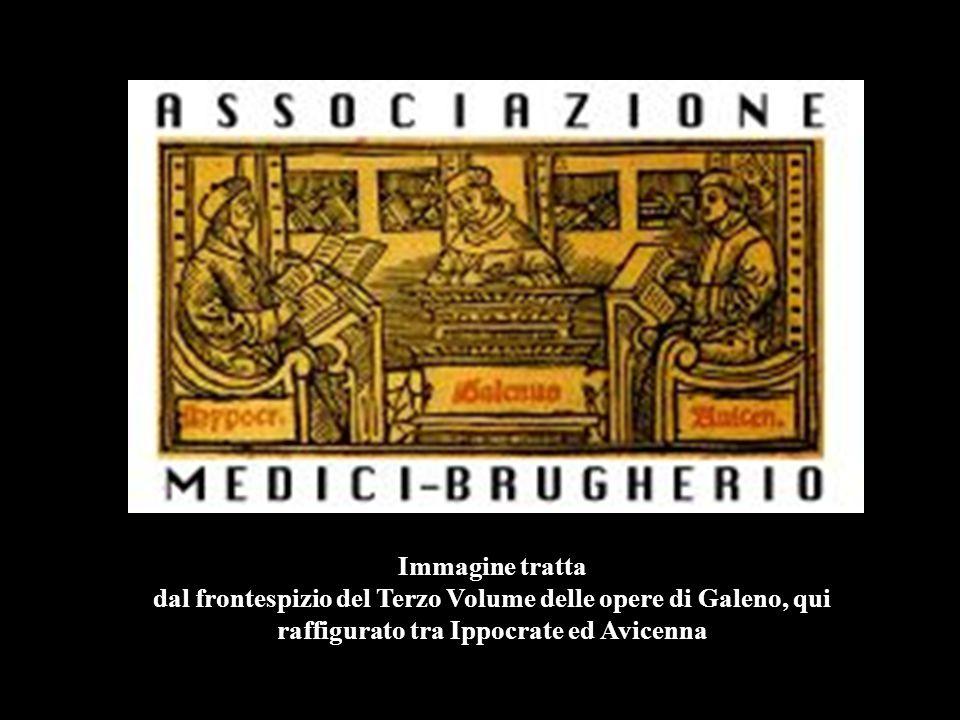 Immagine tratta dal frontespizio del Terzo Volume delle opere di Galeno, qui raffigurato tra Ippocrate ed Avicenna